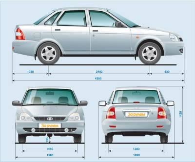 Размеры автомобиля лада приора